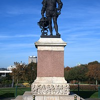 Buy canvas prints of Sir Francis Drake statue on Plymouth Hoe by Chris Day