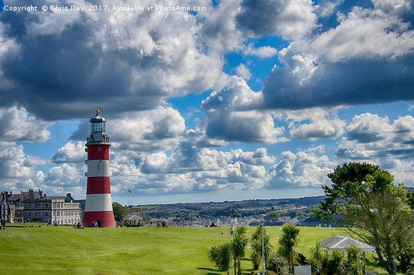Plymouth Hoe and Smeatons Tower Framed Mounted Print by Chris Day