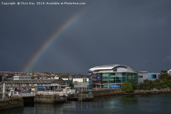 Rainbow Over Sutton Harbour Framed Mounted Print by Chris Day