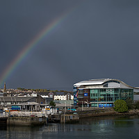 Buy canvas prints of Rainbow Over Sutton Harbour by Chris Day