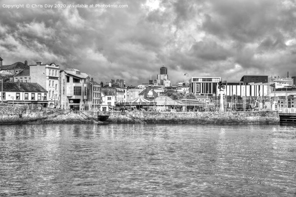 The Barbican and Plymouth Beyond Framed Mounted Print by Chris Day
