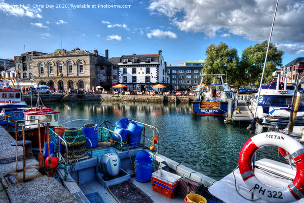 Sutton Harbour West Framed Mounted Print by Chris Day