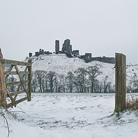 Buy canvas prints of Snowy Castle on the Hill by Laurence Bigsby