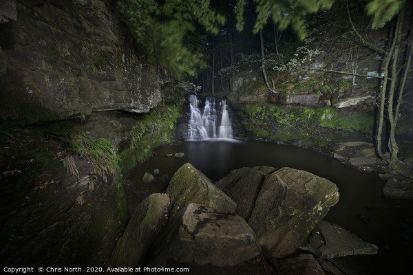 Goit Stock Waterfall by night. Framed Mounted Print by Chris North