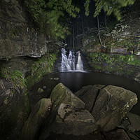 Buy canvas prints of Goit Stock Waterfall by night. by Chris North