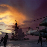 Buy canvas prints of Night flying, HMS Ark Royal. by Chris North