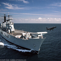 Buy canvas prints of Harrier launch from HMS Ark Royal by Chris North