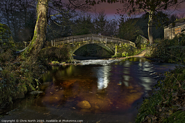 Beckfoot Bridge at night. Print by Chris North