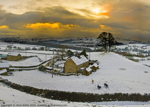 Storiths at Sunset in winter. Print by Chris North