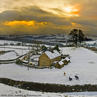 Buy canvas prints of Storiths at Sunset in winter. by Chris North