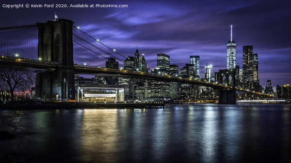 Brooklyn Bridge at Blue Hour Framed Mounted Print by Kevin Ford