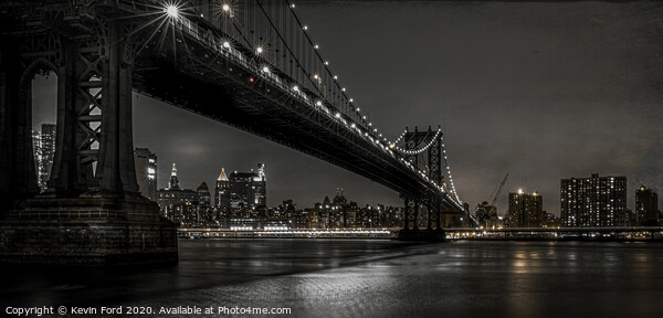Manhattan Bridge at Night Framed Mounted Print by Kevin Ford