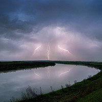 Buy canvas prints of Kightning Strikes over the River Darent by Adrian Campfield