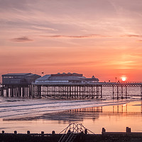 Buy canvas prints of The Sun Rises above Cromer Pier by Jim Key
