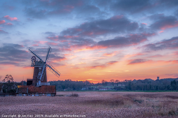 Cley Windmill at Sunset Canvas print by Jim Key