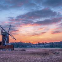 Buy canvas prints of Cley Windmill at Sunset by Jim Key