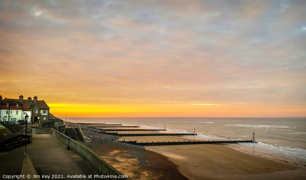 Sunset Sheringham Promenade North Norfolk. Canvas Print by Jim Key