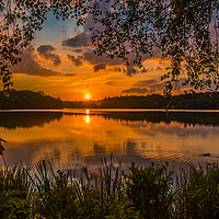 Buy canvas prints of Sunset at Virginia Water Lake by Dave Williams