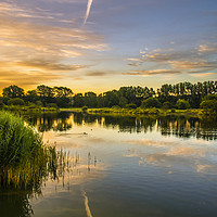 Buy canvas prints of Early hours at Holmethorpe Lagoons Nature Reserve by Dave Williams