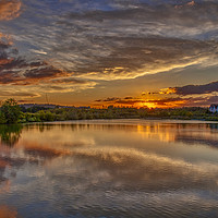 Buy canvas prints of Sunset at Holmethorpe Lagoons Nature Reserve by Dave Williams