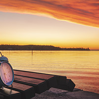 Buy canvas prints of Alarm clock and sunrise over Lake Constance by Daniela-Simona Temneanu