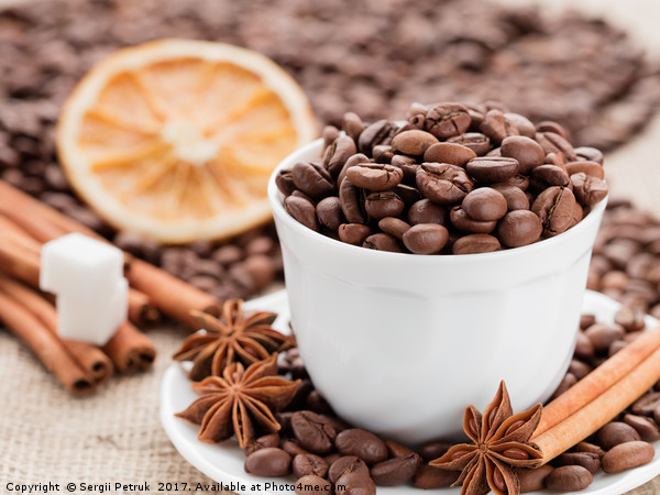 Grains coffee in cup. Cinnamon and anise on a dish Print by Sergii Petruk