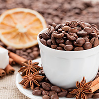 Buy canvas prints of Grains coffee in cup. Cinnamon and anise on a dish by Sergii Petruk