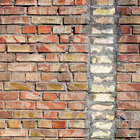 Buy canvas prints of On an old wall of red bricks a separated vertical fragment of the old silicate brick by Sergii Petruk