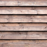 Buy canvas prints of Texture of a wooden fence with a new horizontal brown background by Sergii Petruk