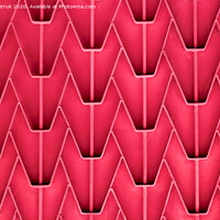 Buy canvas prints of A patterned metal fence with outdated bright red paint. Abstract texture background. by Sergii Petruk