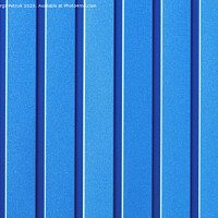 Buy canvas prints of Light blue corrugated steel sheet with vertical guides. by Sergii Petruk