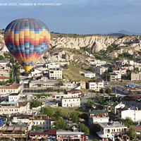 Buy canvas prints of A balloon is flying over the valley in Cappadocia by Sergii Petruk