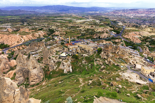 Landscape of the ancient caves of Cappadocia in Turkey, top view. Print by Sergii Petruk