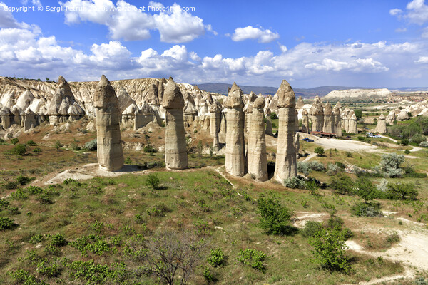 Large phallic rock formations in the Valley of Love, Cappadocia, Turkey. Print by Sergii Petruk