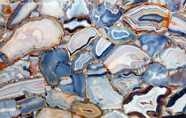 Amazing mesmerizing cross sectional view gemstones agate. Print by Sergii Petruk