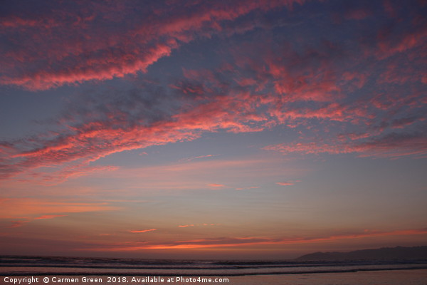 Fluffy pink clouds during sunset at Pismo Beach, C Framed Print by Carmen Green