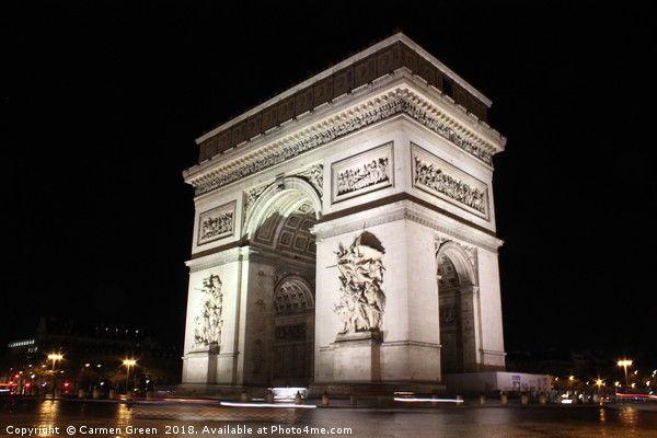 Arc de Triomphe at night, Paris Framed Print by Carmen Green
