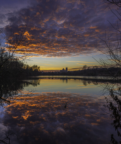 Dusk at Roswell Pits, Ely, 17th January 2017 Print by Andrew Sharpe