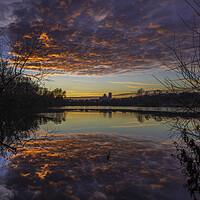 Buy canvas prints of Dusk at Roswell Pits, Ely, 17th January 2017 by Andrew Sharpe