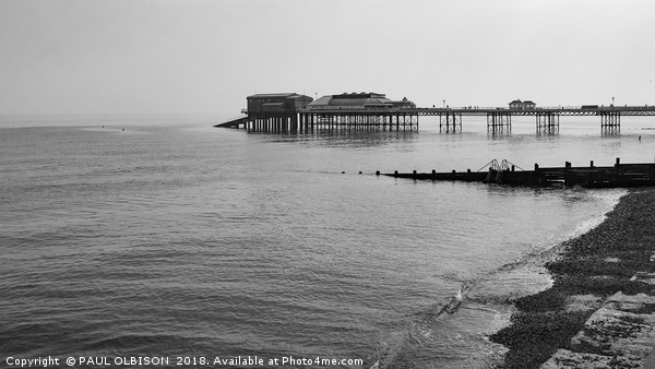 Cromer pier in grayscale Canvas print by PAUL OLBISON