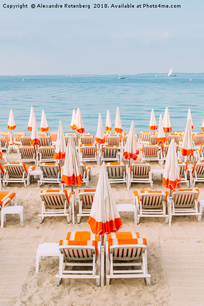 Rows of empty beach lounges in Juan les Pins, Fran Canvas print by Alexandre Rotenberg