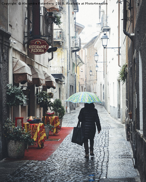 Quaint Italian damp street Canvas print by Alexandre Rotenberg
