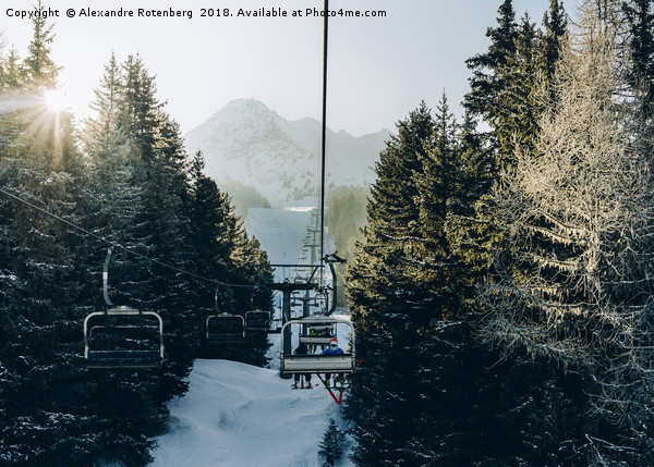Chairlift at ski resort Canvas Print by Alexandre Rotenberg