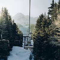 Buy canvas prints of Chairlift at ski resort by Alexandre Rotenberg