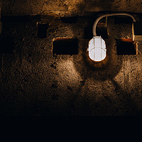 Buy canvas prints of Dark bunker with one light by Alexandre Rotenberg