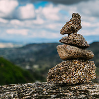 Buy canvas prints of Rock cairn trail marker  by Alexandre Rotenberg