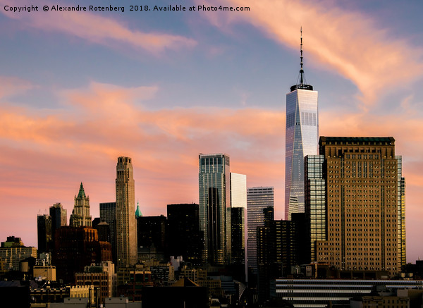 Manhattan, New York City Sunset Framed Mounted Print by Alexandre Rotenberg