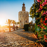 Buy canvas prints of Torre del Oro, Seville, Spain by Alexandre Rotenberg