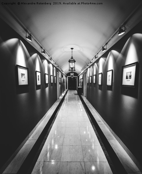 Wide angle long corridor diminishing perspective Canvas print by Alexandre Rotenberg