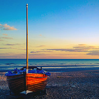 Buy canvas prints of Fishing boat on Hastings Beach by Richard May